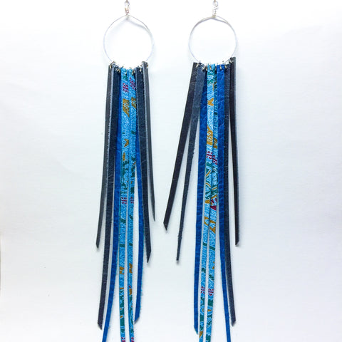 FOXFIRE LEATHER EARRRINGS – BLUE PAISLEY, BLUE & GREY