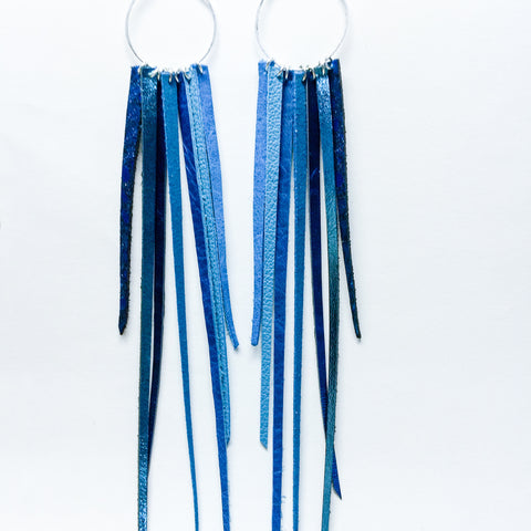 FOXFIRE LEATHER EARRRINGS – SHIMMER BLUE OMBRE