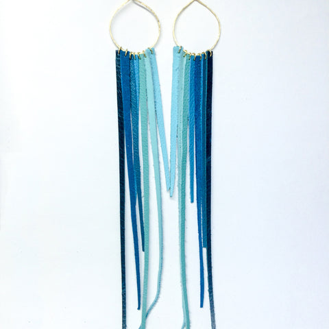 FOXFIRE LEATHER EARRRINGS –  TURQUOISE OMBRE
