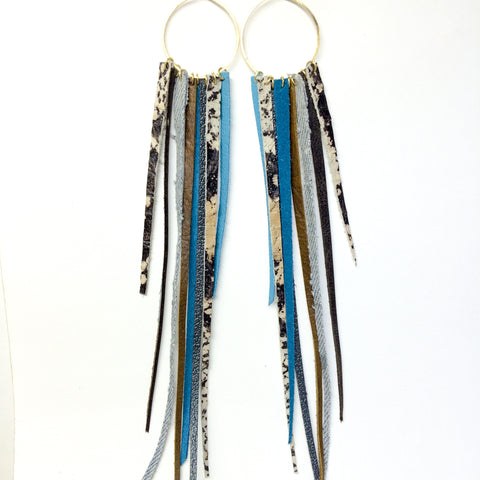 FOXFIRE LEATHER EARRRINGS –  COWGIRL w/ SNAKESKIN & DENIM