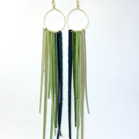 FOXFIRE LEATHER EARRRINGS –  GREEN OMBRE