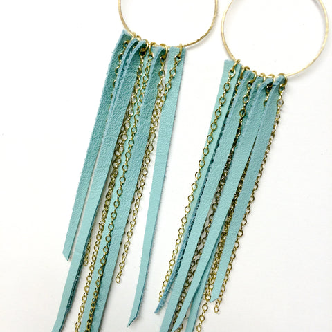 FOXFIRE LEATHER & CHAIN EARRRINGS –  SEAFOAM & GOLD