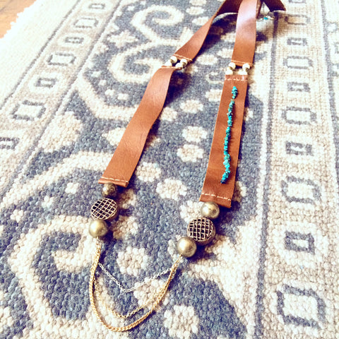 FANTASTIC VOYAGE SALVAGED LEATHER & MOROCCAN BRASS BEAD NECKALCE