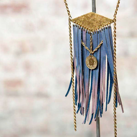 JEAN JEANIE VINTAGE SUN-BLEACHED LEATHER FRINGE NECKLACE