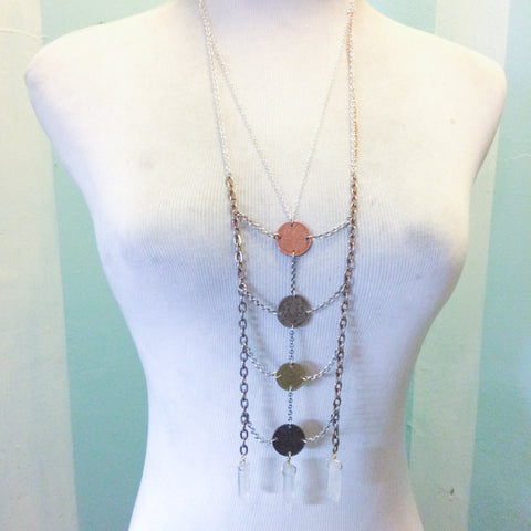 MODERN LOVE CRYSTAL & COIN NECKLACE