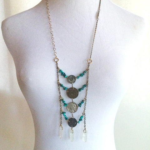 MODERN LOVE TURQUOISE & COIN NECKLACE