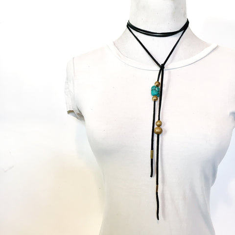 TANGIER LEATHER  WRAP BOLO NECKLACE