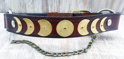 Baja Boot Strap - Brass Moon Phases on Brown