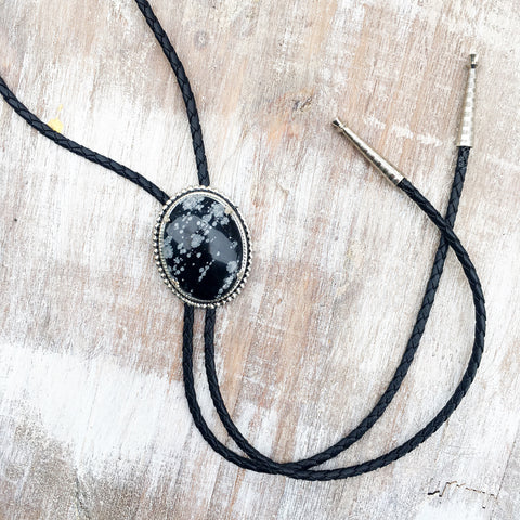 High Noon Bolo Tie - Snowflake Obsidian