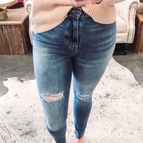 Sneak Peek High Rise Distressed Skinnies
