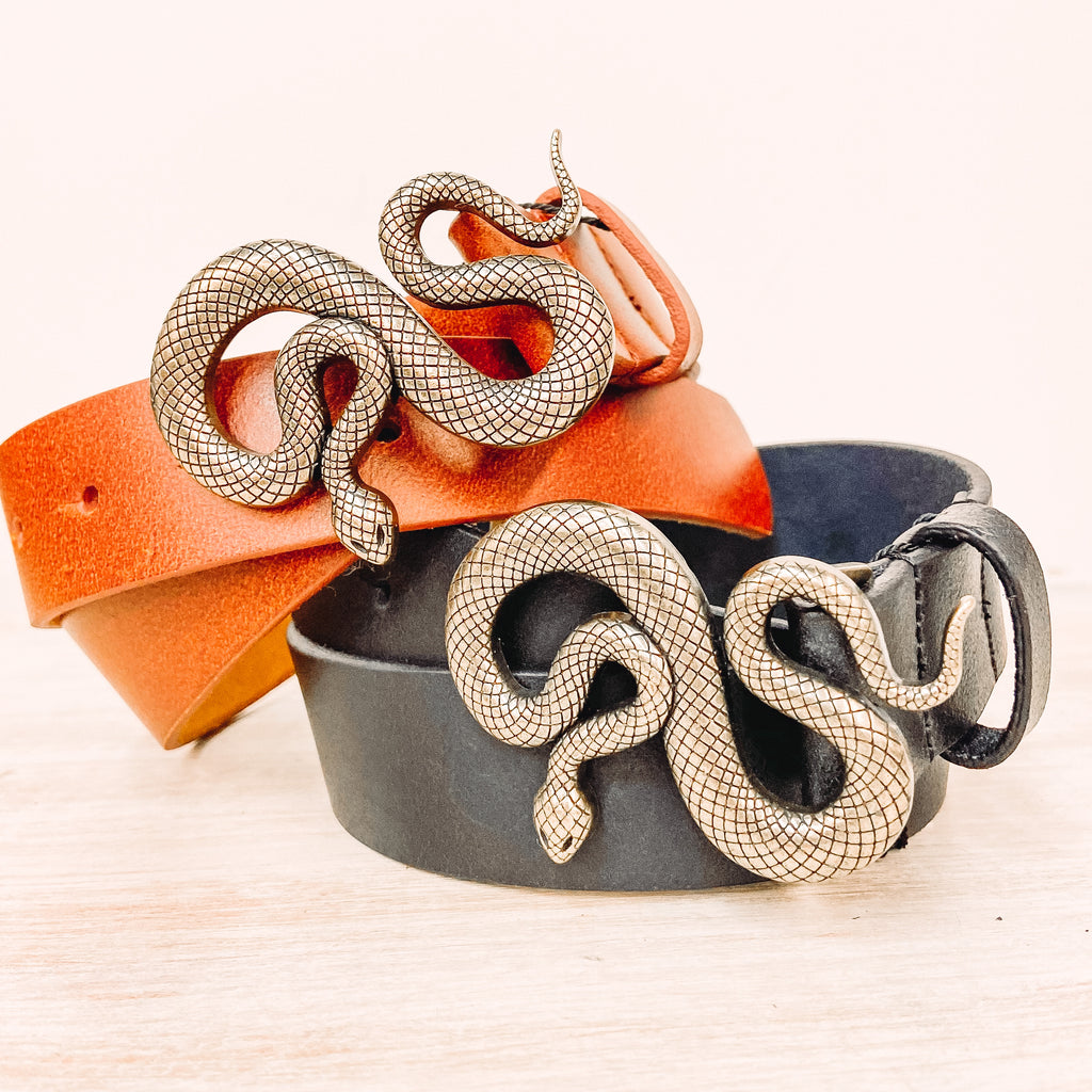 Authentic Leather Snake Belt