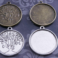 1 inch (25mm) Round Tree of Life Pendant Tray Kit - lilly-ds-diy-craft-supplies