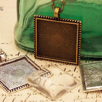 1 inch (25mm) Square Beaded Edge Photo Jewelry Kit - lilly-ds-diy-craft-supplies