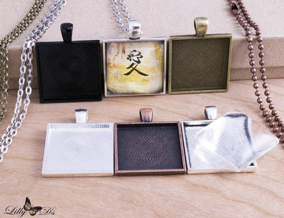1 inch (25mm) Square Pendant Tray Complete Kit