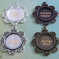 1 inch Round Filigree Flower Pendant Tray Kit