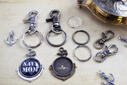 1 inch Round Nautical Anchor Key Chain Kit