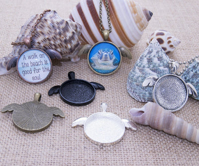 1 inch Round Sea Turtle Pendant Tray Kit