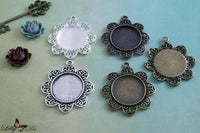 25mm Round Filigree Flower Blank Bezel Settings - Lilly Ds DIY Craft Supplies