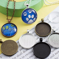 1.25 inch (30mm) Round Blank Photo Pendant Tray Settings