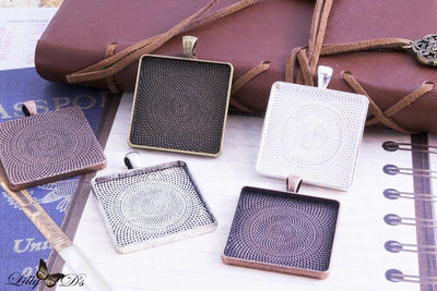 1.25 inch Square (30mm) Blank  Pendant Tray Setting - lilly-ds-diy-craft-supplies