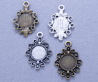 16mm Winding Flower Bezel Setting Blank - Lilly Ds DIY Craft Supplies