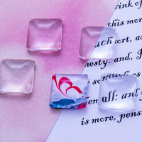 16mm Square Puffy Glass Cabochon - Lilly Ds DIY Craft Supplies