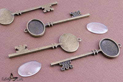 18x25mm Brass Vintage Skeleton Key Findings