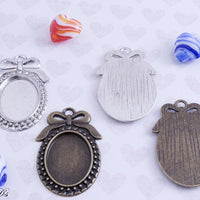 18x25mm Vintage Bow Pendant Tray Kit