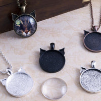 1inch Round Cat Ear Pendant Tray Photo Jewelry Kit - Lilly Ds DIY Craft Supplies