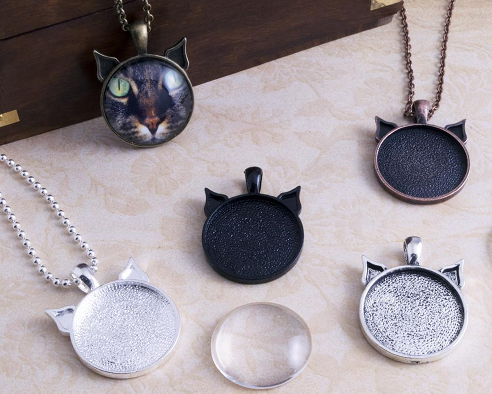 1inch Round Cat Ear Pendant Tray Photo Jewelry Kit - lilly-ds-diy-craft-supplies