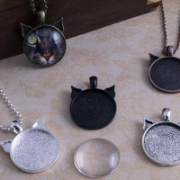1inch Round Cat Ear Pendant Tray Photo Jewelry Kit