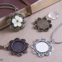 20mm (.78) Round Flower Blank Pendant Trays