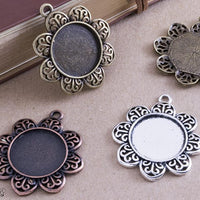20mm Filigree Flower Pendant Tray Kit - lilly-ds-diy-craft-supplies