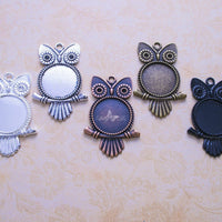 20mm Round Owl DIY Pendant Tray Kit