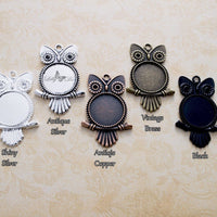 20mm Round Owl DIY Pendant Tray Kit - Lilly Ds DIY Craft Supplies