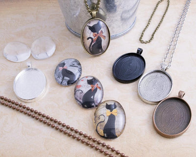 22x30mm Oval Photo Jewelry Pendant Tray Kit - lilly-ds-diy-craft-supplies