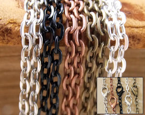 "24"" inch DIY Oval Link Cable Chains with Lobster Clasps"
