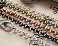 24 inch DIY Rolo Loop Belcher Craft Chains with Clasps - Lilly Ds DIY Craft Supplies