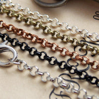 24 inch DIY Rolo Loop Belcher Craft Chains with Clasps