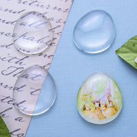 25x30mm Egg Shape Glass Cabochon - Lilly Ds DIY Craft Supplies