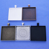 35mm Square Pendant Tray Kit - Lilly Ds DIY Craft Supplies