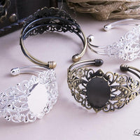 18x25mm Oval Filigree Bracelet Blank - lilly-ds-diy-craft-supplies