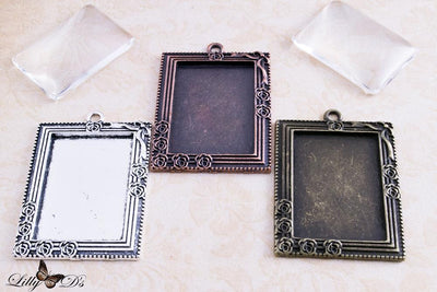 Vintage Victorian Style 25x35mm Rectangle Photo Pendant Trays