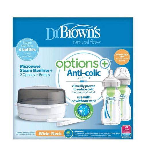 Dr Brown's Options Esterilizador de microondas + 2x de 270ml Anne Claire Baby Store