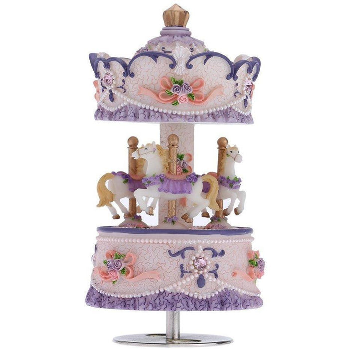 Laxury Windup 3-horse Carousel Music Box (col1) Anne Claire Baby Store