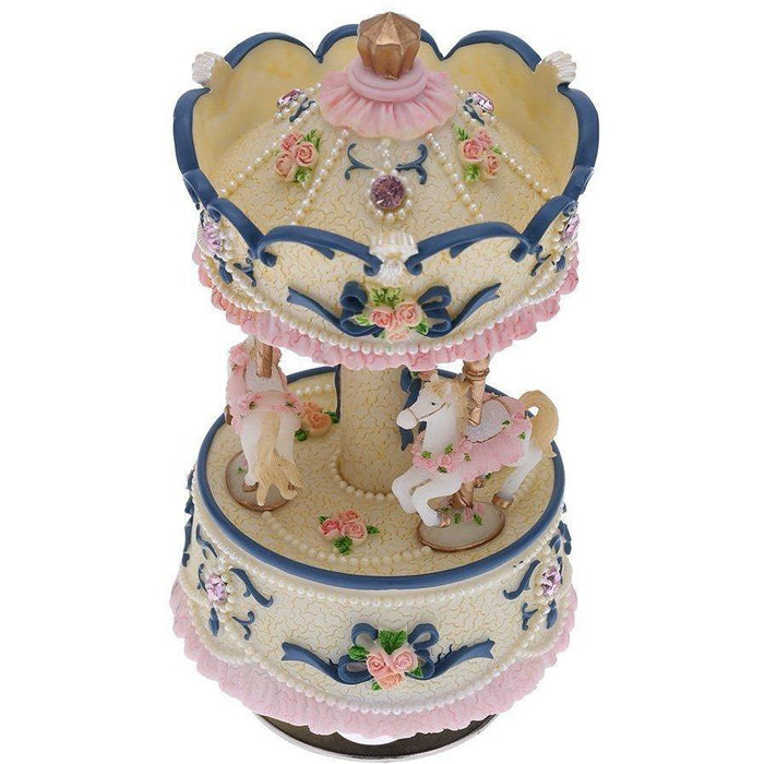 Laxury Windup 3-horse Carousel Music Box (col1) Anne Claire Baby Store Blue