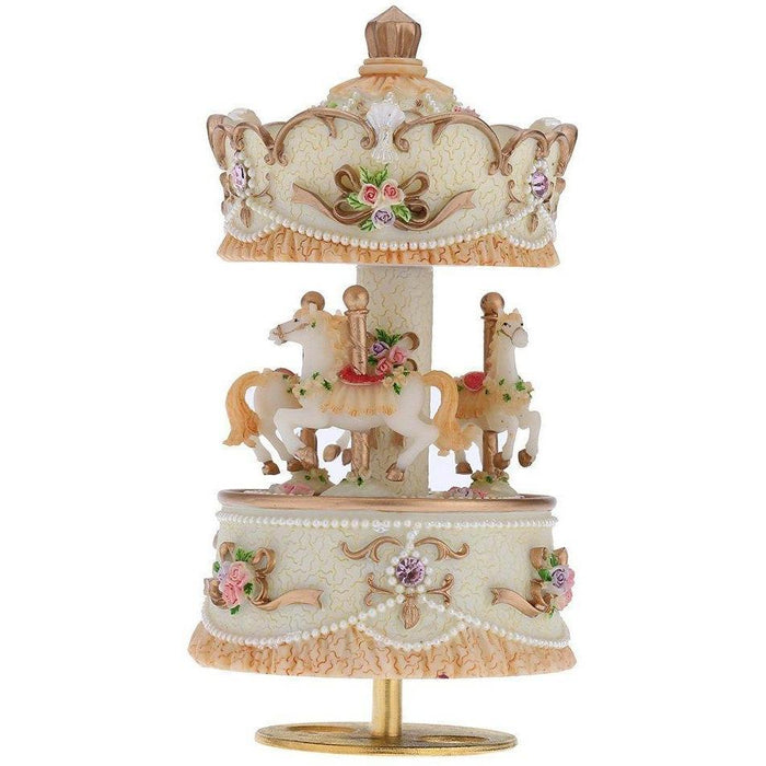 Laxury Windup 3-horse Carousel Music Box (col1) Anne Claire Baby Store Gold