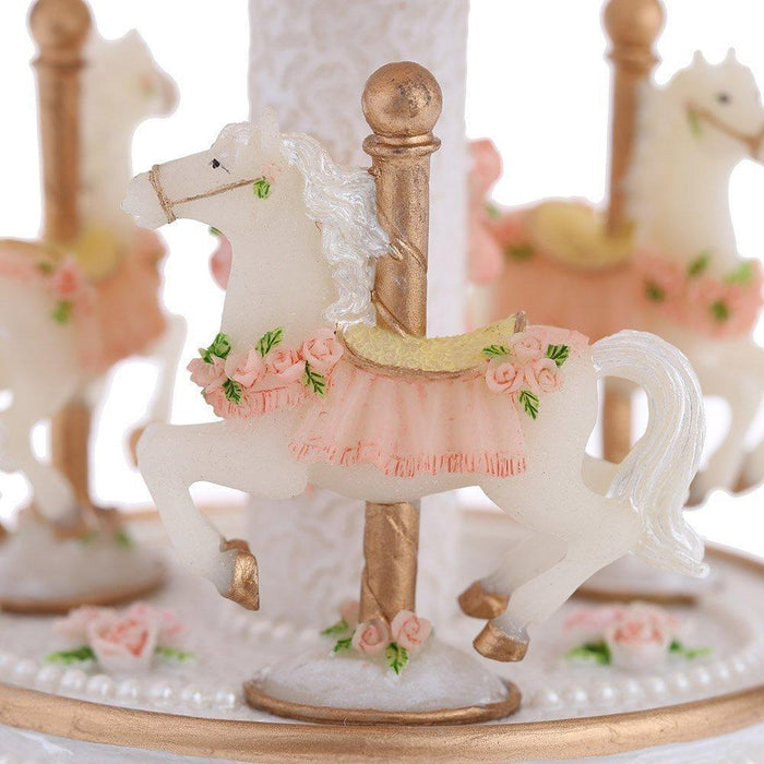 Laxury Windup 3-horse Carousel Music Box (col1) Anne Claire Baby Store Pink