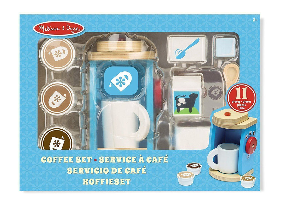 MELISSA AND DOUG - Brew and Serve Wooden Coffee Maker Set (de madeira) Anne Claire Baby Store
