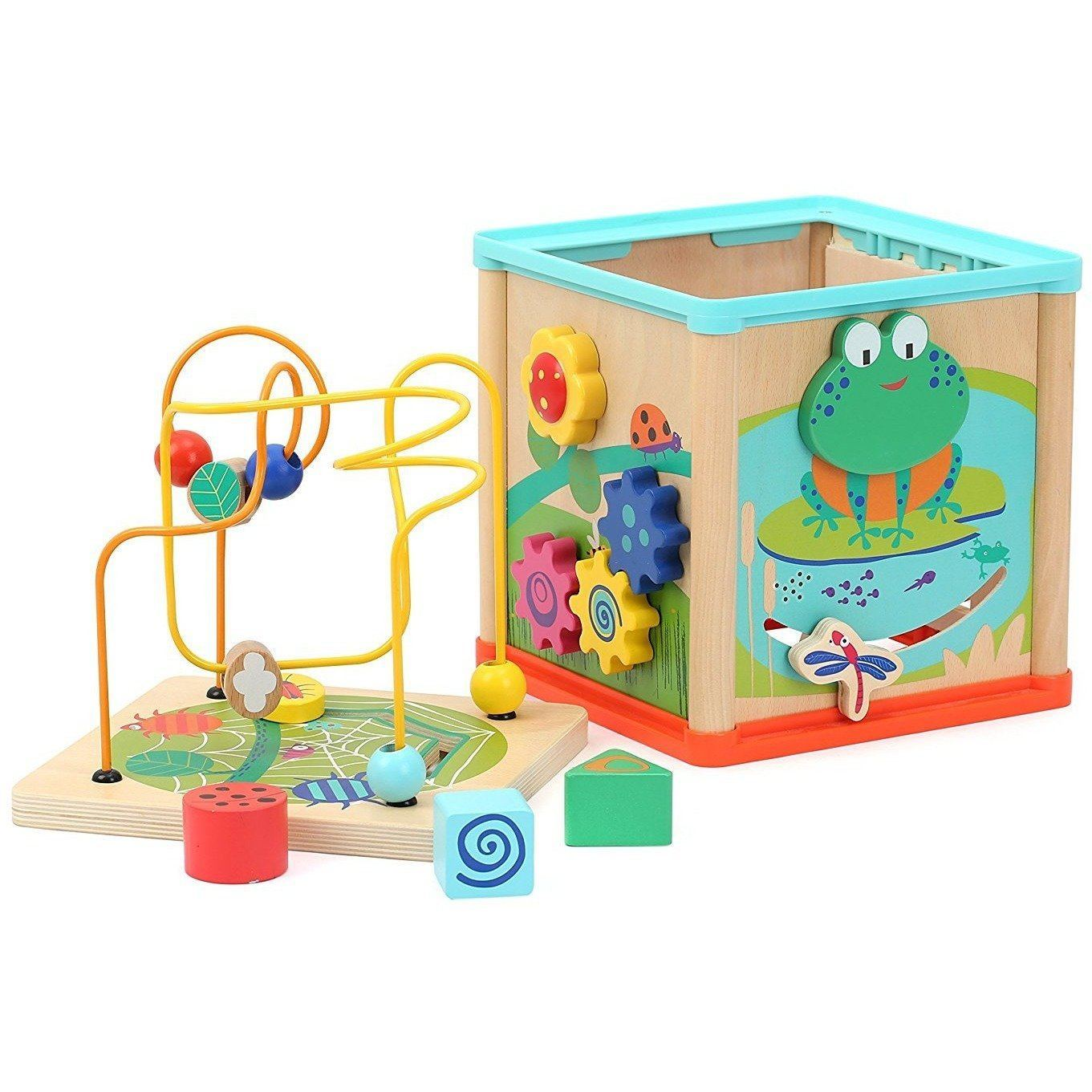 Small Foot Activity Cube with Multifunctional Playing Fun on Five Sides (de madeira) Anne Claire Baby Store